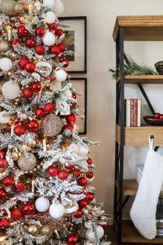 After not using red to decorate for the holidays in a long time, this year I decided on a red, white & gold Christmas tree and I love how it turned out! Find out how to recreate this vibrant, festive look on the blog. #christmastree #christmasdecor #holidaydecor #ad Red And Gold Christmas Tree, Merry Christmas, Colorful Christmas Tree, Unique Christmas Gifts, All Things Christmas, Holiday Crafts, Holiday Ideas, Christmas Tree Decorating Tips, Christmas Tree Design