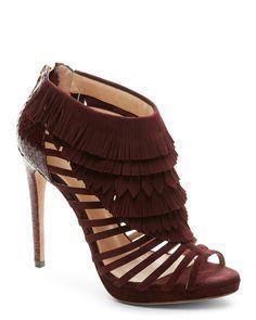 Alexandre Birman Burgundy Anastasie Fringed High Heel Caged Sandals
