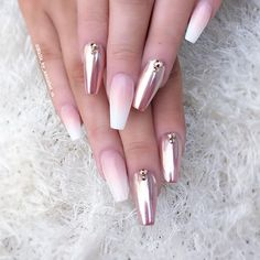 99 best sexy chrome nail art designs for 2018 Get Nails, Fancy Nails, Pink Nails, Hair And Nails, Gorgeous Nails, Pretty Nails, Crome Nails, Chrome Nail Art, Rose Gold Chrome