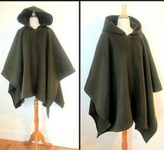 green warm coat cape poncho hooded winter fall colors autumn cape with hood