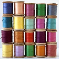 Vintage spools of colorful thread