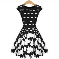 Round neck printed short-sleeved dress ECBYR433