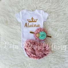 **PLEASE LEAVE THE NAME NEEDED IN THE NOTES AT CHECKOUT.** Outfit Details: The bodysuit is Carters Brand™ Newborn fits 6-9 lbs 3 Month fits 9-12.5 lbs Bloomers: Poly/Cotton Blend with Chiffon Ruffles- Super soft for your little princess! (These will fit up to 11 lbs) Headband: