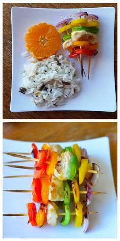 Chicken and pepper kabobs with the best dipping sauce in the world!