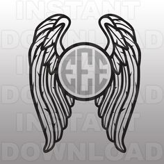 Angel Wings-Feathers Monogram SVG File Cutting by sammo on Etsy