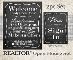 New to PAINTandPEN on Etsy: REALTOR Open House Sign- Sign In- Guestbook Sign- Business Signs- Custom Quotes- Company Values- Employee Inspiration- Logo- 3pc Set (49.00 USD)