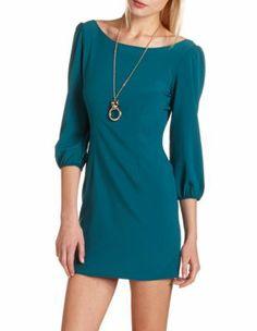 CR - Zip-Back Woven Shift Dress