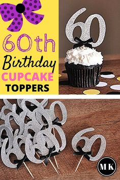 60th Birthday Party Cupcake Toppers - My mom is turning 60 in December, and I am so happy and excited to start planning her surprise 60th birthday party. It's going to be a huge celebration! Although we don't have an actual plan yet, I have started shopping around for ideas and decorations. These classy black and silver cupcake toppers are definitely going to be a hit! I can't wait!