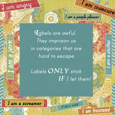 Labels are awful.  They imprison us in categories that are hard to escape.  Those labels start out as little threads of self-dissatisfaction but ultimately weave together into a straitjacket of self-condemnation.  LABELS ONLY STICK IF I LET THEM.  Lysa TerKeurst ~ Unglued.