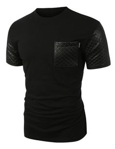 Trend inspired quilted faux leather short sleeve t-shirt is the must have item for a cool edgy style. There is no such thing as too much leather! Pair this shirt with harem pants and a faux leather ja
