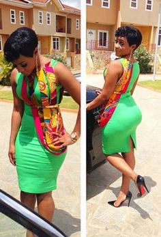 Lovely Green Dress with African Print