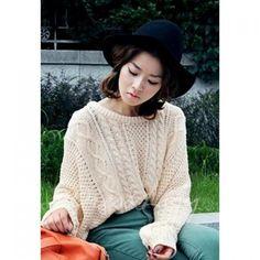Sweet Scoop Neck Loose Fit Plus Size Long Sleeves Crochet Lace Woolen Yarn Women's Cardigan