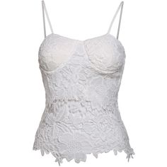 SheIn(sheinside) White Spaghetti Strap Lace Crop Cami Top ($14) ❤ liked on Polyvore featuring tops, white, lace crop top, lace camisole, white crop tank top, white lace camisole and crop tank tops