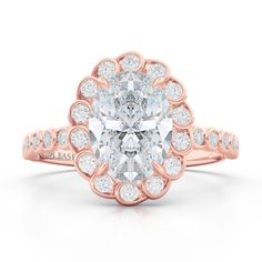Bashert Jewelry | Create Your Engagement Ring Online. Custom Crafted Elegant Halo Engagement Ring in Rose Gold and GIA certified Oval Diamond. Work Directly with the designer at Bashert Jewelry to create one of a kind Love Story