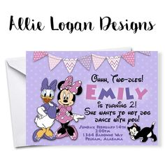 Daisy and Minnie are ready to party! Girls will L-O-V-E this fun, purple and pink invitation!
