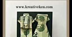 wedding card, money card, origami, origami wedding card, origami wedding dress, origami groom