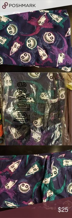 LuLaRoe Disney Collection - NBC Leggings NWT LuLaRoe Disney Collection Nightmare Before Christmas Lock, Shock, and Barrel leggings Size TC (14-26) Lovely dark navy blue background with Lock, Shock, and Barrel faces patterned throughout. One of a kind leggings, very cute, and the navy blue is almost black so it could be styled with a broader variety of colors. LuLaRoe Pants Leggings