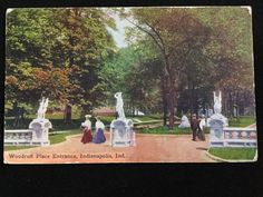 Early 1900s Woodruff Place Entrance, Indianapolis, IN postcard