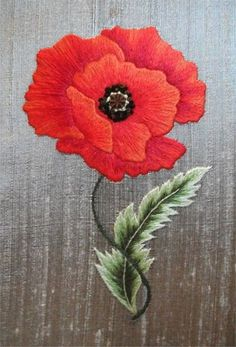 Embroiderers' Guild of Victoria's photo - pretty poppy in needle painting techniques