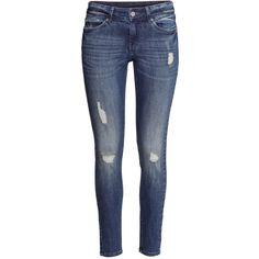 H&M Jeans Super skinny fit ($15) ❤ liked on Polyvore featuring jeans, h&m, pants, skinny jeans, bottoms, denim blue, 5 pocket jeans, h&m jeans, blue jeans and slim leg jeans
