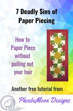 A light-hearted tutorial on how to create a paper pieced quilt. Once you have made all the mistakes in this article, you will be a Perfect Paper Piecing Person! Quilting Blogs, Modern Quilting, Quilting Ideas, Paper Pieced Quilt Patterns, Fat Quarter Quilt, Applique, Foundation Paper Piecing, Quilting For Beginners, English Paper Piecing