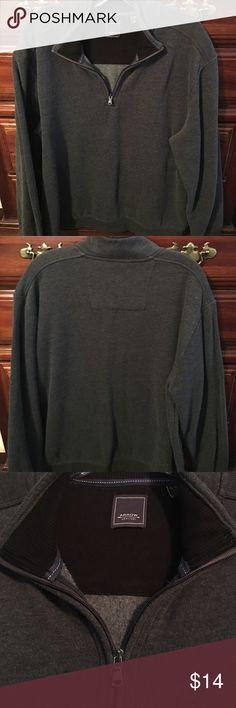 Charcoal gray 1/4 zip fleece lined shirt Charcoal gray, 60%cotton 40%poly 1/4 zip fleece lined shirt. Ribbed around inside collar. Ribbing across shoulders. Excellent condition!!!! Arrow Shirts Sweatshirts & Hoodies