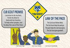 great poster for cub scouts- has cub scout promis, law of the pack, cub scout sign, cub scout salute, and cub scout handshake.  Great for boys earning Bobcat or Wolf.