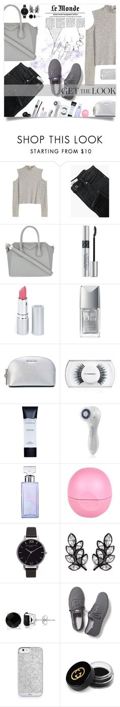 """""""grey #5"""" by jfgs ❤ liked on Polyvore featuring MANGO, Givenchy, Christian Dior, HoneyBee Gardens, MICHAEL Michael Kors, MAC Cosmetics, Smashbox, Clarisonic, Calvin Klein and River Island"""