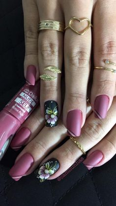 TOP Fotos e Modelos de Unhas Decoradas Fabulous Nails, Perfect Nails, Flower Nail Designs, Nail Art Designs, Cute Nails, Pretty Nails, Flower Nails, Creative Nails, Nail Arts