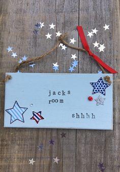 £6.00 ~ bedroom sign ~ boys room ~ wooden plaque ~ hanging sign ~ blue ~ bedroom. visit us on facebook