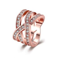 Environmental Rose Gold Geometry Shape Diamond Ring