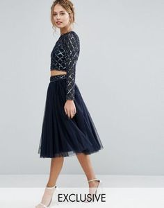 e2af6a80101b41 Lace  amp  Beads Tulle Skirt with Embellished Waist Co Ord Sequin Skirt