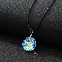Keep the wonders of the universe close to you always with this stunning double sided glass ball pendant necklace! Necklace measures approximately Free Worldwide Shipping & Money-Back Guarantee World Map Necklace, Moon Jewelry, Jewelry Roll, Flower Jewelry, Women's Jewelry, Jewelry Ideas, Silver Jewelry, Jewelry Watches, Acorn Necklace