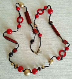 Attractive NEXT Long Red and Gold Beaded Necklace Costume Jewellery     A943 Grey And Gold, Gold Beads, Silver Color, Costume Jewelry, Cord, Beaded Necklace, Plastic, Shapes, Jewellery