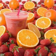http://MelindaAnn.bodybyvi.com    ORANGE & STRAWBERRY-ENERGY BLAST  -1 cup orange juice not from concentrate  -1/2 cup + frozen strawberries  -2 scoops vi shape shake mix  Blend until smooth! Simple, packed with vitamins, and delicious!!!