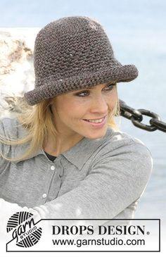 Crochet Hats Design Ravelry: Crocheted hat pattern by DROPS design - Crochet Hat With Brim, Crochet Adult Hat, Crochet Summer Hats, Crochet Beanie Pattern, Knitted Hats, Knit Crochet, Crochet Hats, Crochet Patterns, Free Crochet