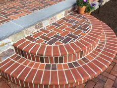 Inspirational innovations that we love! Brick Steps, Brick Pathway, Concrete Steps, Brick Design, Floor Design, Brick Laying, Outdoor Walkway, Brick Art, Brick Construction