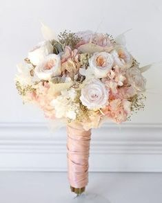 Rose gold wedding bouquet All preserved real flowers to last for years. Cotton candy pink hydrangea blush white roses pink and cream garden roses angel leaves rose gold gems gold babies breath and touch of soft gray lambs ear. Gold Wedding Bouquets, Gold Bouquet, Hydrangea Bouquet Wedding, Gold Wedding Colors, Pink Rose Bouquet, Gold Wedding Theme, Pink And Gold Wedding, Spring Wedding Colors, Wedding Flowers
