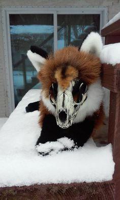 Adopt Grenn: the Fox Skull Plushie Soft Mount Stuffed by Roxxi1018