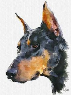 """""""Doberman Pinscher"""" by Vitaly Shchukin: Digital watercolor // Buy prints, posters, canvas and framed wall art directly from thousands of independent working artists at Imagekind.com."""