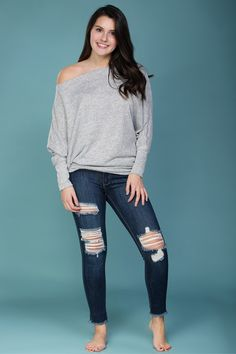 Soft, heather gray top with dolman sleeves. Slouchy and off the shoulder.