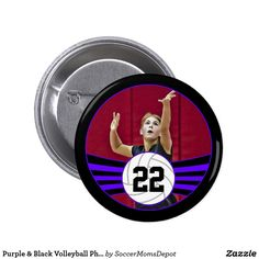 Purple & Black Volleyball Photo and Jersey Number Button - A wonderful senior gift for volleyball players with purple team colors! Personalize it with your own photo and jersey number! #volleyball #volleyballseniors #seniorgift #sports #purple #customizable