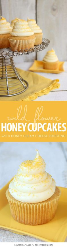 Honey Cupcakes with Honey Cream Cheese Frosting! A delicious cupcake recipe, made from scratch, with local wild flower honey.