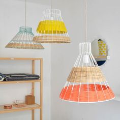 STRAW canne pendant lamps, designed by Isabelle Gilles et Yann Poncelet for SERAX. COLONEL SHOP ,decoration and contemporary furniture in Paris. Diy Luz, Licht Box, Room Lamp, Bed Room, Desk Lamp, Design Shop, Design Design, Lampshades, Interior Inspiration