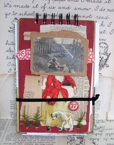 Handmade BOOK covers COLLAGED spiral sketch by JennyElkinsHandmade, $24.00