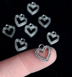 Silver Metal Heart Charms