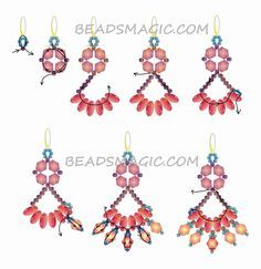seed bead tutorials for beginners Beaded Earrings Patterns, Beading Patterns Free, Seed Bead Patterns, Free Pattern, Color Patterns, Weaving Patterns, Beading Ideas, Free Beading Tutorials, Mosaic Patterns