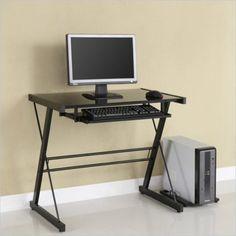 Home Office Glass Metal Computer Desk - Black - Saracina Home Metal Computer Desk, Desk With Keyboard Tray, Top Computer, Computer Desks, Office Desks, Contemporary Desk, Modern Desk, Black Desk, Home Office Furniture