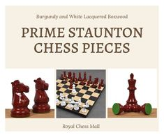 Grab the deal with PRIME STAUNTON CHESS PIECES SET at royal chess mall. These Chess Pieces are as aesthetically pleasing design of Staunton series.  #royalchessmall #chesspieces # chesssets #handcrafted #playchess #woodenchess #woodenchess #chess #woodenchessboard  #chessset #chessmaster #chesspieces #chessgame Wood Chess Board, Chess Pieces, Mall, Burgundy, Crafts, Design, Manualidades, Handmade Crafts