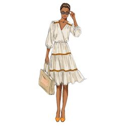 Easy Pullover Dress Pattern Butterick Sewing Pattern by Retro Pattern, Vintage Sewing Patterns, Moda Casual, Fashion Design Sketches, Tiered Dress, Dress Patterns, Vogue Patterns, Bias Tape, Shirtdress